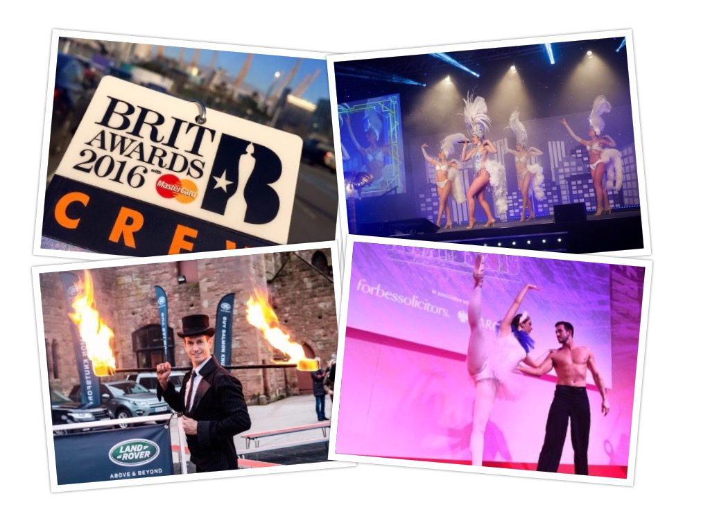 Brit awards 2016 - 20's dancers - land rover launch fire performer - red rose awards dancers